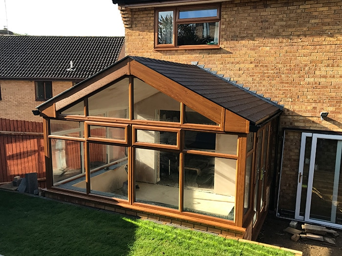 Conservatory with large sliding doors
